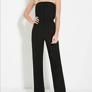 Forever 21 Strapless Wide Leg Jumpsuit
